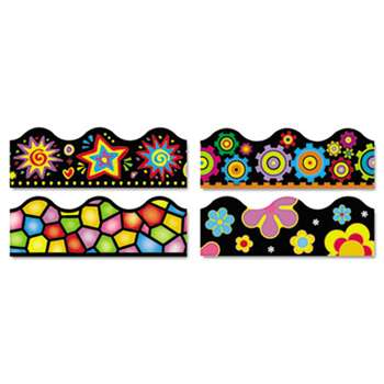 "TREND ENTERPRISES, INC. Terrific Trimmers Border, 2 1/4 x 39"",  Bright On Black, Assorted, 48/Set"