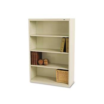 TENNSCO Metal Bookcase, Four-Shelf, 34-1/2w x 13-1/2d x 52-1/2h, Putty