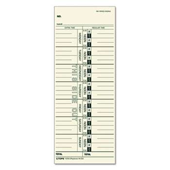 TOPS BUSINESS FORMS Time Card for Acroprint/IBM/Lathem/Simplex, Weekly, 3 1/2 x 9, 100/Pack
