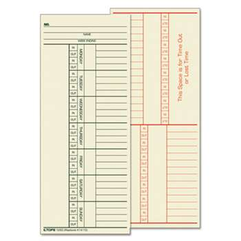 TOPS BUSINESS FORMS Time Card for Cincinnati, Named Days, Two-Sided, 3 3/8 x 8 1/4, 500/Box