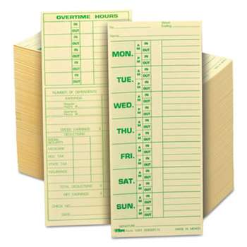 TOPS BUSINESS FORMS Time Card for Pyramid Model 331-10, Weekly, Two-Sided, 3 1/2 x 8 1/2, 500/Box