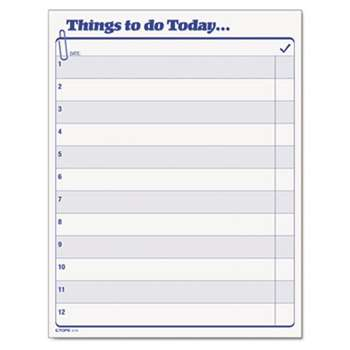 "TOPS BUSINESS FORMS ""Things To Do Today"" Daily Agenda Pad, 8 1/2 x 11, 100 Forms"