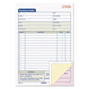 TOPS BUSINESS FORMS Purchase Order Book, 5 9/16 x 8 7/16, Three-Part Carbonless, 50 Sets/Book