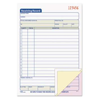 TOPS BUSINESS FORMS Receiving Record Book, 5 1/2 x 7 7/8, Three-Part Carbonless, 50 Sets/Book
