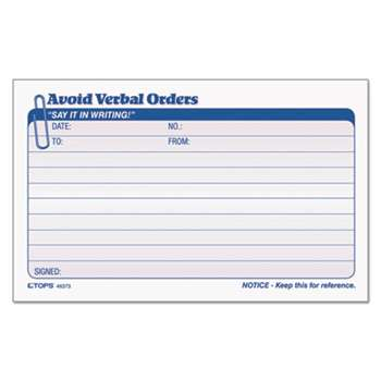 TOPS BUSINESS FORMS Avoid Verbal Orders Manifold Book, 6 1/4 x 4 1/4, 2-Part Carbonless, 50 Sets/BK