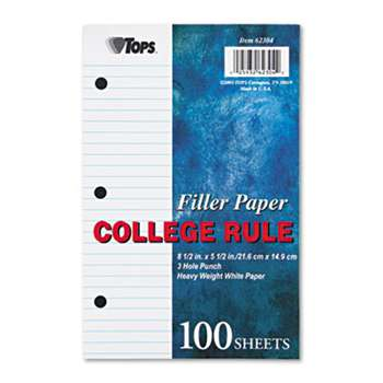 TOPS BUSINESS FORMS Filler Paper, 3H, 20 lb, 5 1/2 x 8 1/2, College Rule, White, 100 Sheets/Pack