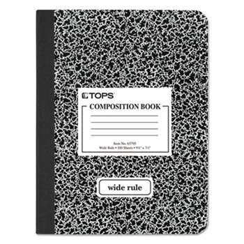 TOPS BUSINESS FORMS Composition Book w/Hard Cover, Legal/Wide, 9 3/4 x 7 1/2, White, 100 Sheets