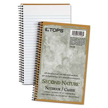 TOPS BUSINESS FORMS Second Nature Subject Wirebound Notebook, Narrow, 8 x 5, White, 80 Sheets