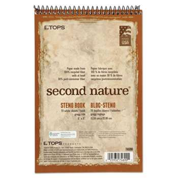 TOPS BUSINESS FORMS Second Nature Spiral Reporter/Steno Book, Gregg, 6 x 9, White, 70 Sheets