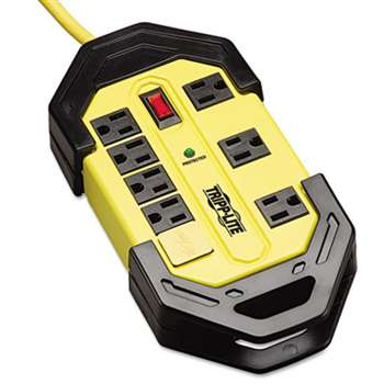 TRIPPLITE Safety Surge Suppressor, 8 Outlets, 12 ft Cord, 1500 Joules, Yellow/Black, OSHA