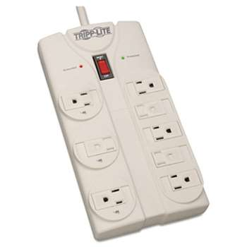 TRIPPLITE TLP808 Surge Suppressor, 8 Outlets, 8 ft Cord, 1440 Joules, Light Gray