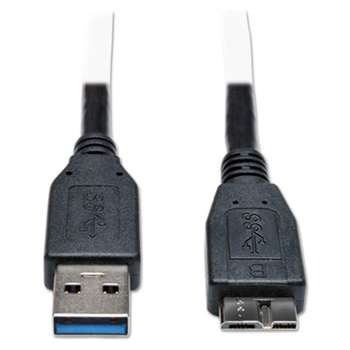 Tripp Lite U326001BK USB 3.0 Device Cable, Micro B M/M, 1 ft, Black