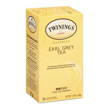 TWININGS NORTH AMERICA INC Tea Bags, Earl Grey, 1.76 oz, 25/Box