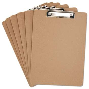 "UNIVERSAL OFFICE PRODUCTS Hardboard Clipboard, 1/2"" Capacity, Holds 8 1/2w x 12h, Brown, 6/Pack"