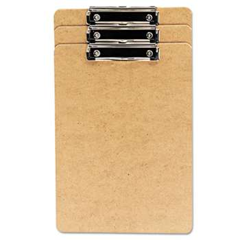 "UNIVERSAL OFFICE PRODUCTS Hardboard Clipboard, 1/2"" Capacity, Holds 8 1/2w x 14h, Brown, 3/Pack"