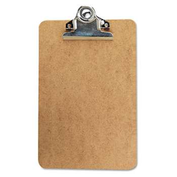"UNIVERSAL OFFICE PRODUCTS Hardboard Clipboard, 3/4"" Capacity, Holds 5w x 8h, Brown"