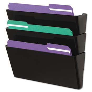 UNIVERSAL OFFICE PRODUCTS Recycled Wall File, Three Pocket, Plastic, Black