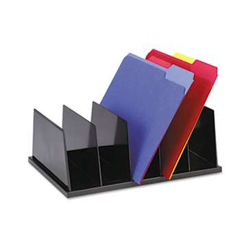 UNIVERSAL OFFICE PRODUCTS Large Desktop Sorter, Five Sections, Plastic, 13 1/2 x 9 1/8 x 5, Black