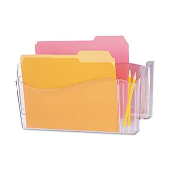 UNIVERSAL OFFICE PRODUCTS Unbreakable 4-in-1 Wall File, Two Pockets, Plastic, Clear