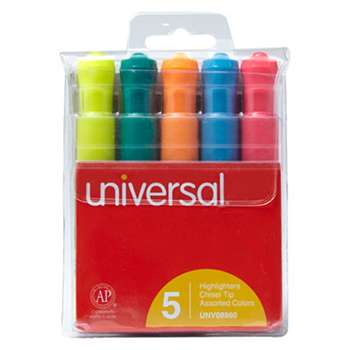 UNIVERSAL OFFICE PRODUCTS Desk Highlighter, Chisel Tip, Fluorescent Colors, 5/Set