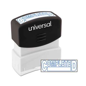 UNIVERSAL OFFICE PRODUCTS Message Stamp, COMPLETED, Pre-Inked One-Color, Blue Ink