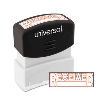 UNIVERSAL OFFICE PRODUCTS Message Stamp, RECEIVED, Pre-Inked One-Color, Red