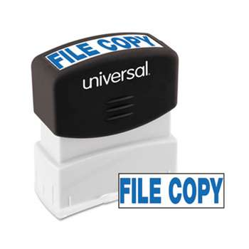 UNIVERSAL OFFICE PRODUCTS Message Stamp, FILE COPY, Pre-Inked One-Color, Blue