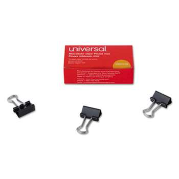 "UNIVERSAL OFFICE PRODUCTS Mini Binder Clips, 1/4"" Capacity, 5/8"" Wide, Black, 12/Box"