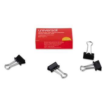 "UNIVERSAL OFFICE PRODUCTS Small Binder Clips, 3/8"" Capacity, 3/4"" Wide, Black, 12/Box"