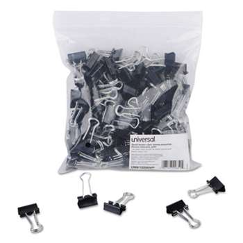 "UNIVERSAL OFFICE PRODUCTS Small Binder Clips, Zip-Seal Bag, 3/8"" Capacity, 3/4"" Wide, Black, 144/Bag"