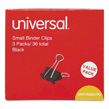 "UNIVERSAL OFFICE PRODUCTS Small Binder Clips, 3/8"" Capacity, 3/4"" Wide, Black, 36/Box"