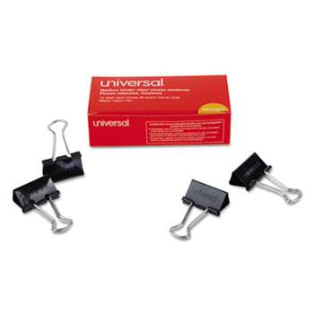 "UNIVERSAL OFFICE PRODUCTS Medium Binder Clips, 5/8"" Capacity, 1 1/4"" Wide, Black, 12/Box"