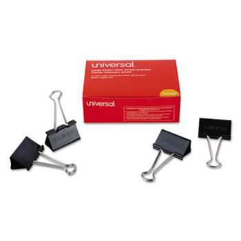 "UNIVERSAL OFFICE PRODUCTS Large Binder Clips, 1"" Capacity, 2"" Wide, Black, 12/Box"
