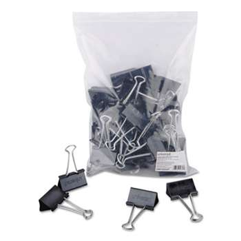 "UNIVERSAL OFFICE PRODUCTS Large Binder Clips, Zip-Seal Bag, 1"" Capacity, 2"" Wide, Black, 36/Bag"