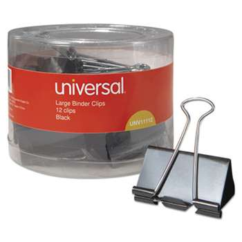 "UNIVERSAL OFFICE PRODUCTS Large Binder Clips, 1"" Capacity, 2"" Wide, Black, 12/Pack"