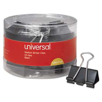 "UNIVERSAL OFFICE PRODUCTS Medium Binder Clips, 5/8"" Capacity, 1 1/4"" Wide, Black, 24/Pack"