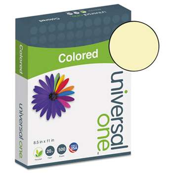 UNIVERSAL OFFICE PRODUCTS Colored Paper, 20lb, 8-1/2 x 11, Canary, 500 Sheets/Ream