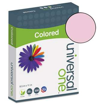 UNIVERSAL OFFICE PRODUCTS Colored Paper, 20lb, 8-1/2 x 11, Pink, 500 Sheets/Ream