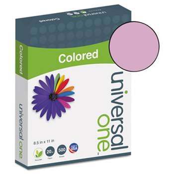 UNIVERSAL OFFICE PRODUCTS Colored Paper, 20lb, 8-1/2 x 11, Orchid, 500 Sheets/Ream