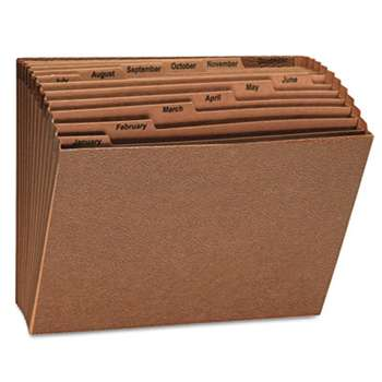 UNIVERSAL OFFICE PRODUCTS Expanding File, Open Top, 12 x 10, Jan.-Dec., Letter, Redrope