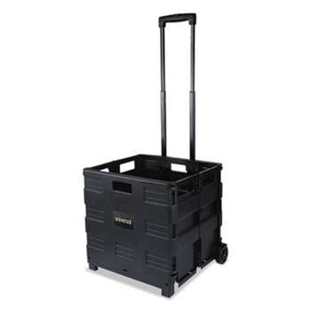 UNIVERSAL OFFICE PRODUCTS Collapsible Mobile Storage Crate, 18 1/4 x 15 x 39 3/8, Black
