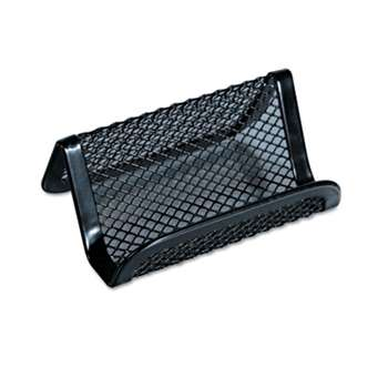 UNIVERSAL OFFICE PRODUCTS Mesh Metal Business Card Holder, 50 2 1/4 x 4 cards, Black