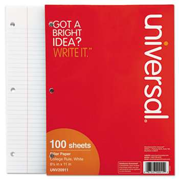 UNIVERSAL OFFICE PRODUCTS Mediumweight 16-lb. Filler Paper, 8 1/2 x 11, College Rule, White, 100 Sheets/PK