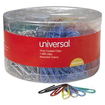Universal One 21000 Vinyl-Coated Wire Paper Clips, No. 1, Assorted Colors, 1000/Pack