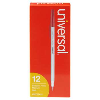 UNIVERSAL OFFICE PRODUCTS Economy Ballpoint Stick Oil-Based Pen, Red Ink, Medium, Dozen