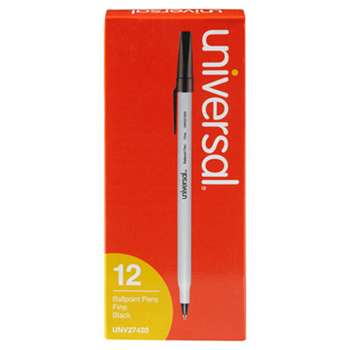 UNIVERSAL OFFICE PRODUCTS Economy Ballpoint Stick Oil-Based Pen, Black Ink, Fine, Dozen
