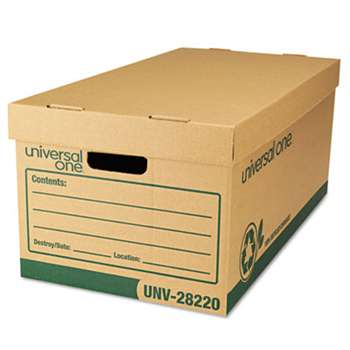 "UNIVERSAL OFFICE PRODUCTS Recycled Record Storage Box, Letter/Legal, 12"" x 24"" x 10"", Kraft, 12/Carton"