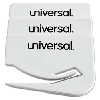 "UNIVERSAL OFFICE PRODUCTS Letter Slitter Hand Letter Opener w/Concealed Blade, 2 1/2"", White, 3/Pack"