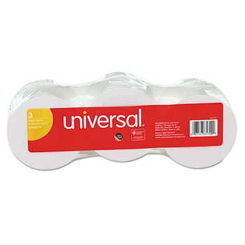 "UNIVERSAL OFFICE PRODUCTS Adding Machine/Calculator Roll, 16 lb, 1/2"" Core, 2-1/4"" x 150 ft, White, 3/Pack"