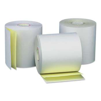 "UNIVERSAL OFFICE PRODUCTS Carbonless Paper Rolls, White/Canary, 3"" x 90 ft, 50/Carton"